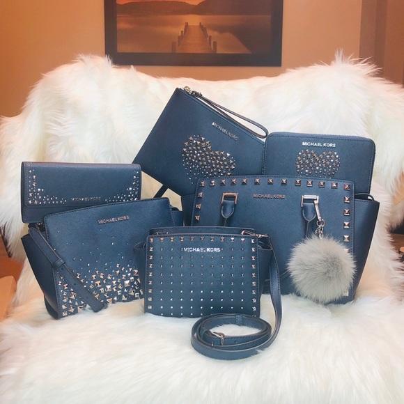 f7fd40e48b07 Michael Kors Bags | 7pcs Navy Blue Love Studded Set | Poshmark